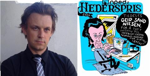 KARIKATUR: Gründer Geir Sand Nilsen(40) mottok NPeDs hederspris som kom i form av en karikaturtegning illustrert av 2002 Sproing-vinner Ronny Haugeland. Hedersprisen ble tildelt Nilsen etter hans iherdige arbeid med Facebook-gruppa «Koronadugnad for digitale lærere».