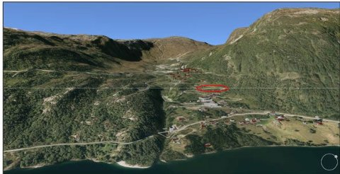 Illustrasjon av Håradalen, sett mot nordvest. Planområdet er markert med ein raud sirkel. Illustrasjon: 3d kommunekart