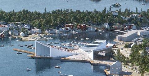 HAVNEFRONTEN: Visjonene for Havnefronten i Kragerø har vært mang opp gjennom årene. Denne illustrasjonen ble laget av Arkitektfirmaet Snøhetta i 2018.