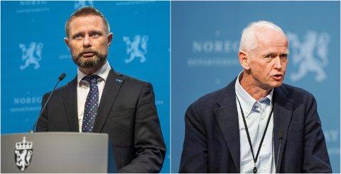 PRESSEKONFERANSE: Helseminister Bent Høie og FHIs vaksinesjef Geir Bukholm vil være på regjeringens pressekonferanse tirsdag ettermiddag.