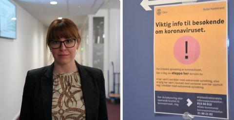 Bydelsoverlege Tanja Karoline Tomasevic i Nordstrand Bydel ber folk stoppe ved stopp-skiltet.