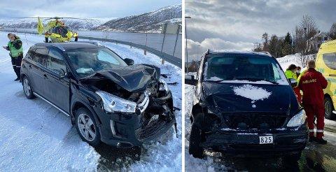 Like ved Kvalsundtunnelen kolliderte disse bilene mandag morgen. Foto. Eskil Mehren