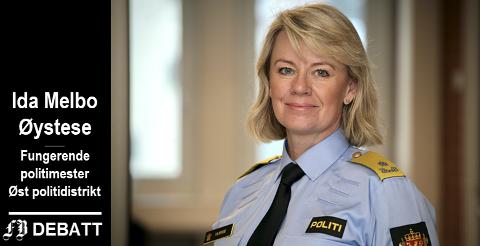 Politimester Ida Melbo Øystese forteller at medarbeidere står i en skvis mellom ny og gammel struktur og jobber knallhardt hver dag for å levere trygghet til borgerne.