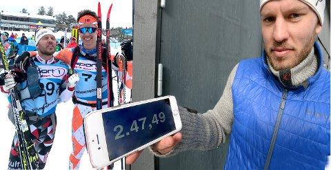 TANGERTE PERSEN: Ola Erling Korbøls pers fra Birkenbeinerrennet lyder på 2.49,47 og stammer fra 2015. Og nå også fra 2019. For 27-åringen fra Hof gikk inn til NØYAKTIG samme tid i år. Her sammen med fetteren Halvor Korbøl Thoner (i oransje skidress). Fetter'n gikk inn til 2.45,30.