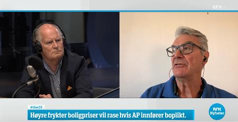 Politikerne Pål Syse (Ap) og Torbjørn Fevang (H) diskuterte boplikt på Dagsnytt 18. Debatten førte ikke til enighet mellom partiene.