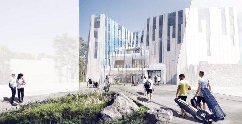 Isbre-assosiasjoner: Slik ser arkitektene for seg inngangs-partiet til Skihallen. Ill.: Halvorsen & Reine AS