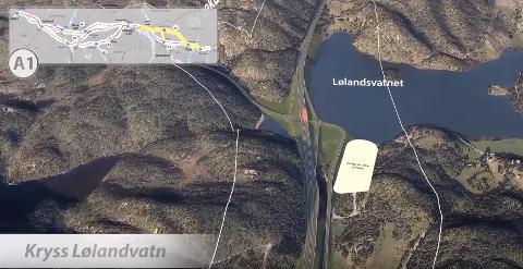 ANBEFALER LØLANDSVANN: Alternativet med kryss ved Lølandsvann (skisse) er det fylkestinget også anbefaler nå