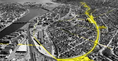 HOVEDÅRE: – Den nye gang- og sykkelveien blir en ny hovedåre gjennom Drammen.