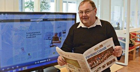 TAKKAR AV: 34 år i avisa, og 20 av dei som leiar, er fasiten når Erling Wåge no takkar av som redaktør og dagleg leiar i Fjordenes Tidende.