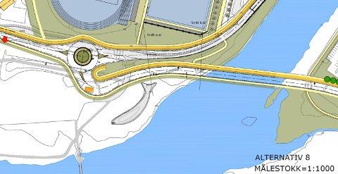 FLYTTA: Rundkøyringa er flytta nokre meter nærare sentrum, slik at ein akkurat unngår Laksen.