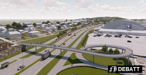 Her ser vi gang- og sykkelbrua som skal bygges ved Hauge, sør for Østfoldhallen. Tor Prøitz kaller det supervei, og mener gang- og sykkelveier bør dimensjoneres ned. Illustrasjon: Statens vegvesen/Multiconsult