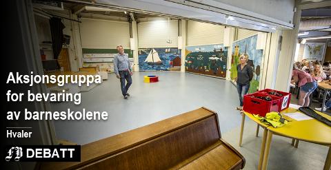 – Man snakker om å bygge er nærmiljøanlegg ved Åttekanten skole, skriver aksjonsgruppa. Det er kostnader som er med når gruppa mener én ny skole blir dyrere enn å beholde Åttekanten (bildet) på Vesterøy og Floren på Kirkøy.