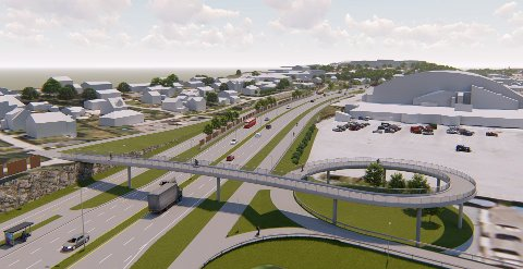 Ruver i terrenget: Her ser vi gang- og sykkelbrua som skal bygges ved Hauge, sør for Østfoldhallen. (Illustrasjon: Statens vegvesen/Multiconsult)