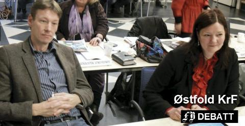 Fylkestingsrepresentantene Olav Moe og Britt Egeland Gulbrandsen fronter Kristelig Folkepartis ja til Viken-standpunkt. Arkivfoto: Øivind Lågbu