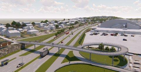 UTSATT: Folk i Nedre Glomma er nødt til å vente med å få en ny fylkesvei mellom Fredrikstad og Sarpsborg. Her ser man gang- og sykkelbrua som skal bygges ved Hauge, sør for Østfoldhallen.
