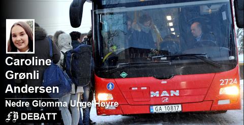 Caroline Grønli Andersen spør: – Politikerne snakker om å bli mer miljøvennlige, men setter opp et busstilbud som gjør det helt umulig for oss i distriktene å reise kollektivt. Er ikke det veldig dobbeltmoralsk? Arkivfoto: Trond Thorvaldsen
