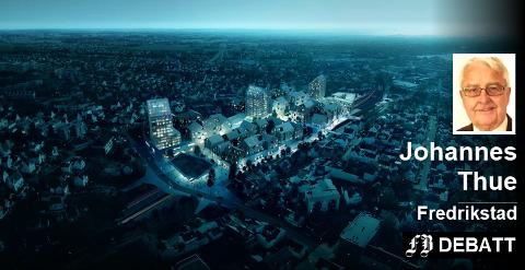 Olrud Eiendom tilbyr tomt for Fredrikstads nye jernbanestasjon på Dammyr, og har presentert denne skissen.  – Han har gått i posisjon for å skumme fløten av fortettingsprosjektet Grønli Stasjon, mener Johannes Thue.  Illustrasjon: COBE Architects