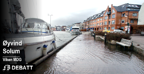 Springflo i Fredrikstad i mars 2007. Øyvind Solum mener vi allerede nå bør begynne å planlegge for høyere vannstand.