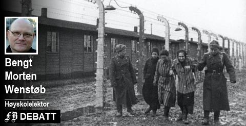 Sovjetiske styrker inntok konstrasjonsleiren Auschwitz 27. januar 1945.  – Prisen for å rendyrke politiske ideologier var ufattelig for de som ikke passet inn i den, skriver Bengt Morten Wenstøb. Bilde fra en sovjetisk dokumentar.