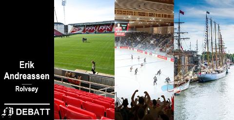 Tre kommunale utgiftsposter som Erik Andreassen er kritisk til: Fredrikstad stadion, Arena Fredrikstad og Tall Ships Races.