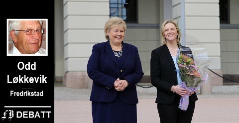 Odd Løkkevik retter kritikken om «norsk moral» og holdningen til mødre og barn i syriske leire mot Erna Solberg og Sylvi Listhaug. Her ses de to på Slottsplassen da Listhaug ble utnevnt til eldre- og folkehelseminister i mai i år.