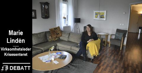 Som et vanlig hjem: Krise- og incestsenteret har anonym fasade med låste dører og videoovervåkning. Inne er det som et hjem, med felles stue og kjøkken. Marie Lindén viste frem «hjemmet» for FB-lesere i februar 2016.