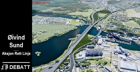 SAMLET PLAN:  Sarpsborg bystyre ber en om at det utarbeides en samlet plan for all togtrafikk gjennom Sarpsborg. Fortrinnsvis i rett linje med kryssing av Glomma sør for Sarpsfossen. Modellen viser en foreløpig plan for vei- og jernbanebru ovenfor fossen.