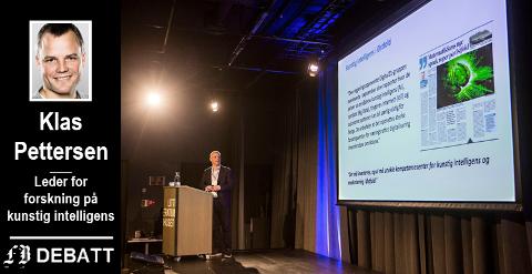 «Gunstig» eller «kunstig» intelligens? Eller begge deler? Bildet viser Klas Pettersen under hans foredrag på  Fredrikstadkonferansen der spørsmålet var hvordan næringslivet kan gjøre nytte av kunstig intelligens.