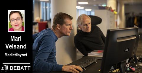– De  redaktørstyrte mediene en viktigere rolle enn noen gang,skriver Mari Velsand. På bildet FBs sjefredaktør .Jon Jacobsen og digitalredaktør Espen Normann.