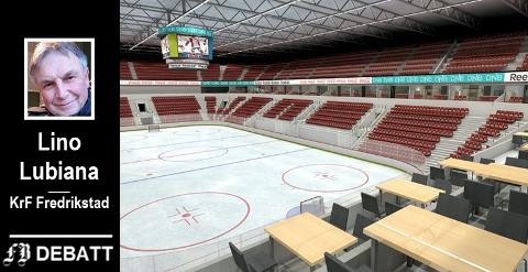 Lino Lubiana gjentar sin sterke skepsis til å bygge Arena Fredrikstad fordi det er så mange  offentlige oppgaver som kan avhenge av avkastning fra fylkeskommunens energiaksjer. Illustrasjon fra en tidlig idéfase: LINK/Multiconsult