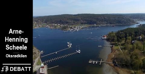– Små private brygger er kystmiljø, det er ikke store marinaer, skriver Arne-Henning Scheele. Bildet viser Hankøsundet med Seilerkroa på Hankø i forgrunnen.