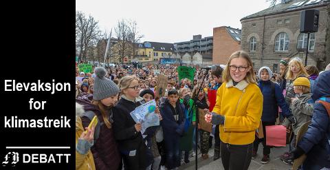Fredrikke Skahjem ledet organiseringen under den store klimastreiken i Fredrikstad 22. mars.  I dette innlegget varsler en gruppe elever ny nasjonal streik fredag.