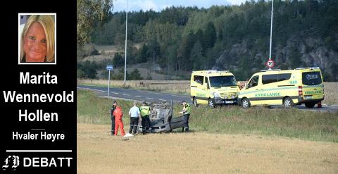 Rv. 110 er en utsatt innfartsvei som er svært ulykkesbelastet, skriver Wennevold Hollen, bilde fra ulykke ved Ørmen.