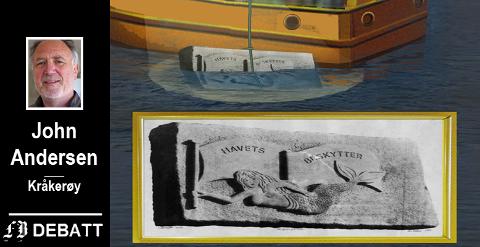– En stor granittblokk med havfrue-relieff  på 11 meters dyp skulle «sette Fredrikstad og Hvaler på kartet». Siden har det vært 28 års taushet. Bortsett fra at sarpingene ler og ler. Tegning: John  Andersen