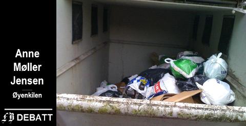 Usortert hytteavfall: – Alt hyttesøppel usortert i en felles container, klager Anne Møller Jensen.