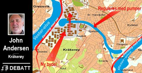 Andersen har laget et kart med høye demninger som sikrer Fredrikstad sentrum ved ekstrem havstigning. Her er Vesterelven gjennom sentrum gjort til en kanal som er stengt i begge ender. Kart: John Andersen
