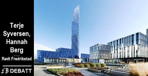 – Denne dagdrømmingen må stoppes. Fredrikstad er en fantastisk by, selv uten gigantiske blå tårn, heter det i innlegget fra Rødt Fredrikstad.