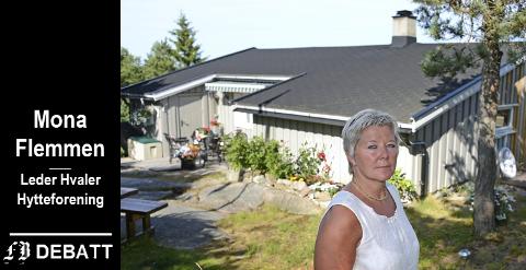 Som leder av hytteforeningen har Mona Flemmen et omfattende samarbeid med Hvaler kommune. Hun tar her til orde for at alle hytteeiere skal få innflytelse gjennom stemmerett.