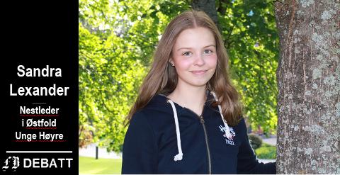 Sandra Lexander, Østfold Unge Høyre: – Hvorfor skal postnumrene våre alene avgjøre hvor vi skal gå på skole, når vi er gamle nok til å kunne ta en fornuftig vurdering og avgjørelse selv?