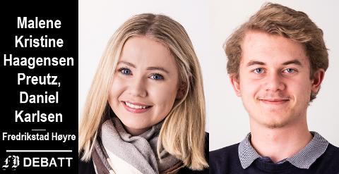 Malene Kristine Haagensen Preutz og Daniel Karlsen, listekandidater Fredrikstad Høyre