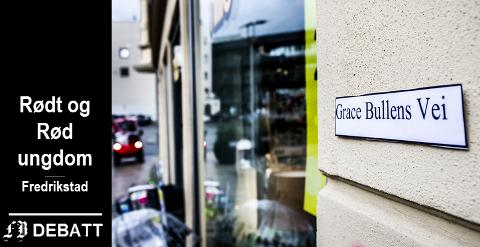 Grace Bullen fikk skilt med sitt navn på på Flesketorvet natt til torsdag.  – Fredrikstad og Norge har mange kvinner å være stolte over. Det er på tide at flere kvinner også får gater oppkalt etter seg, skriver Rødt som sto bak aksjonen.