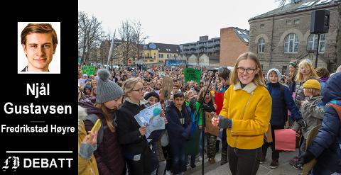 Gustavsen skriver at lokalpolitikerne skal ta elevstreiken i Fredrikstad i mars i år, med primus motor Fredrikke Skahjem (bildet), på alvor, og at kommunene har ansvar for å kutte klimagassutslipp og skape grønnelokalsamfunn.