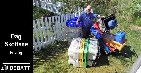 Dag Skottene har samlet inn en mengde plast som nå blir byggematerial i taket til Håpets katedral som bygges på Isegran.
