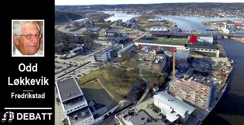 Flere bygg har kommet til på Værste siden dette bildet ble tatt i 2016. Odd Løkkevik mener det er på tide utpeke området til Fredrikstads nye sentrum.