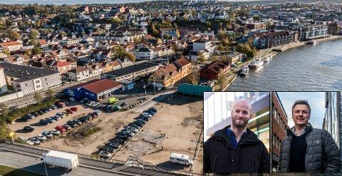 Daglig leder Sander Grundvig i Cityplan og administrerende direktør Arild Mortensen i Isegran Eiendom har store planer for utviklingen av Trosvikstranda. Nå overfører de alle sine tomter i nytt utviklingsselskap. Fordi kommunens selskap eier mest areal, skal Cityplan betale en sum, men den vil de ikke ut med.