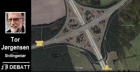 Tor Jørgensen har valgt Autobahn-krysset Hannover/Koblenz som illustrasjon av krysset med «full kløver» som han mener trengs i Årumkrysset mellom E6 og Rv 22. En slik type motorveikryss finnes fra før ikke i Norge.