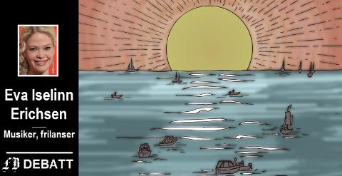 Fortellingen handler om vannblemmer og træler i hendene, om passion og indre drivkraft, men også tau og livbøyer.  Tegning: Robin Olsen