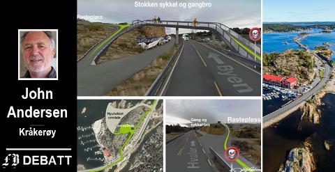 Planfri kryssing mellom sykkelsti og bilvei ved Stokken i  John Andersens modell.