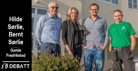 Nå er det helheten som gjelder, også i næringslivet, heter det fra Sørlie Næringseiendom. På bildet ser vi brevforfatterne Bernt Sørlie og Hilde Vatn Sørlie til venstre sammen med Bernt Sondre Sørlie og Frode  Kalnes Bjerkeli.
