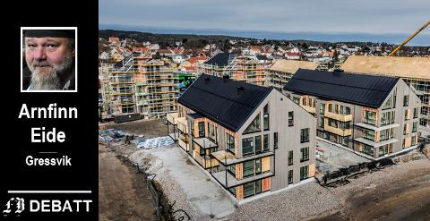 – Det er en grunn til at barnefamilier fra Oslo gjerne flytter hit og pendler tilbake. Det må ikke skusles bort av politikere som vil brødfø utbyggere og investorer som utelukkende har som mål å tjene store penger på byggeprosjekter, skriver Eide, her med Bruket brygge som illustrasjon.